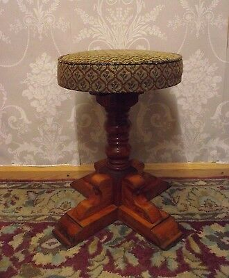 Vintage Chunky Wooden Piano/pub/dressing Table Stool - Beautiful Design - Heavy!