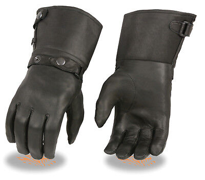 Premium Cowhide Leather Gauntlet Gloves Motorcycle Motorbike Gloves Leather