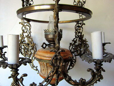 Vintage Ornate Brass and Ceramic Six-Arm Light Chandelier