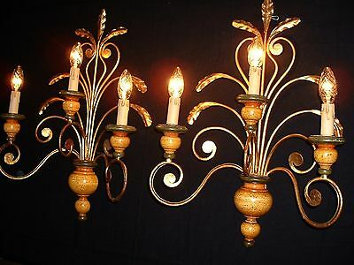 """Vintage large French Sconces Gilded Metal and woods 3 arms 24"""" Tall"""