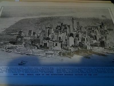 """New York Down Town City Map Single Page 1920's Encyclopedia to Frame ? 9x6"""" Page"""