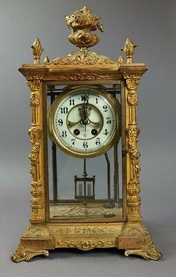 Antique Bronze And Brass Crystal Regulator French Clock