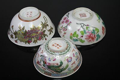 Lot Of 3 Mix Old Chinese Porcelain Bowls With Mark On Bottom
