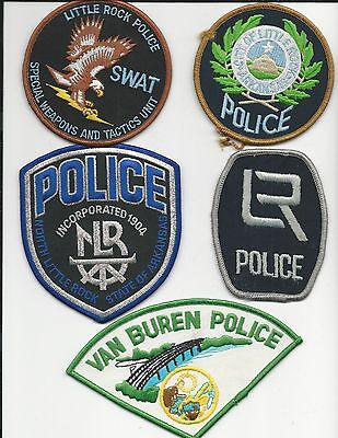 5 Different Arkansas police patches Ar collection lot all for 1 price 1 swat