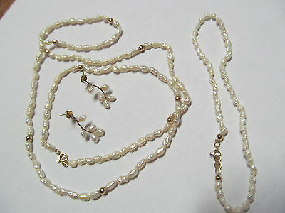 14K very petite baroque white pearl , earrings, necklace and bracelet set