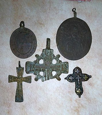 Medieval period Bronze Cross Pendant.5 pcs.