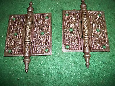 Antique Vintage Cast Iron Victorian Hinges Pair 3-1/2 X 3-1/2 Steeple Tip (B)