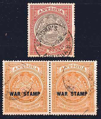 Antigua 1918 Kgv War Stamp Pair F/used & Sg32