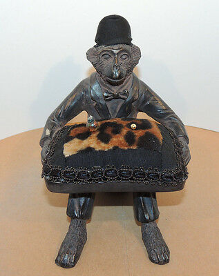 Sitting Monkey in a Suit Figurine Holding Pin Cushion 5 inches tall (11399)