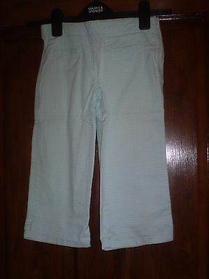 M & S blue and white check capri trousers Size 9 yrs