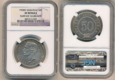SARAWAK 50 Cents 1900-H NGC XF Details CHARLES J.BROOKE