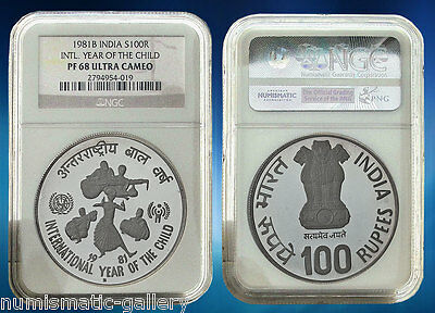INDIA 100 Rupees 1981 NGC PF68UCAM Year of the Child Highest graded