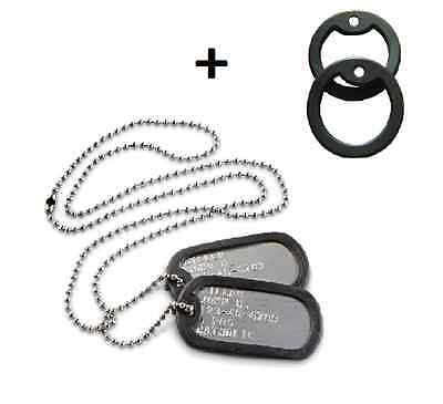 Military Personalized dog tags Stainless Steel SHINY + 4 silencers