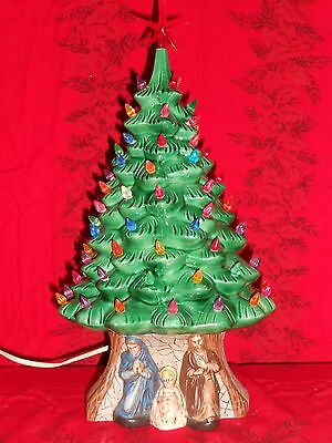 "TABLE TOP Ceramic Lighted Christmas Tree  Nativity Base Beautiful  17"" WITH STAR"