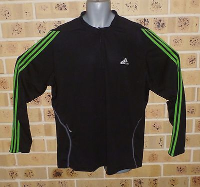 2XL Mens 1/2 Zipped ADIDAS Long Sleeved Running Top Black Polyester Pre owned