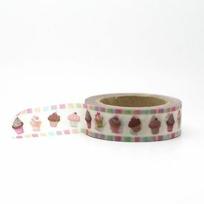 Washi Tape - Cute Candy Colourful Cupcakes 15mm x 10m  Pretty Tape
