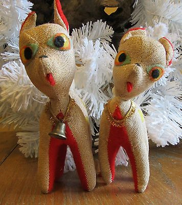 2 Vtg Antique Christmas Holiday Sawdust Fawns Reindeer w/Bell Japan