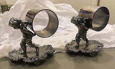 "Antique silver plate 2 cherubs napkin rings holders  3.5"" x 3"""