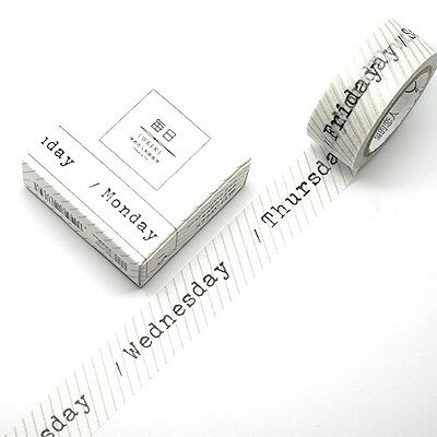 Washi Tape - Weekdays in Black Type Font 15mm x 7m Perfect Planner Washi Tape