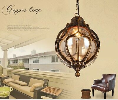 Vintage outdoor balcony glass ball pendant lamp with waterproof aluminum lamp