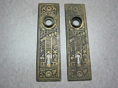 2 EAST LAKE  Antique Door Knob & KEY Escutcheon Plate SET  EASTLAKE