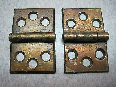 2 Antique Victorian Brass plate Shutter Window Hardware Hinge Vintage Pair 10