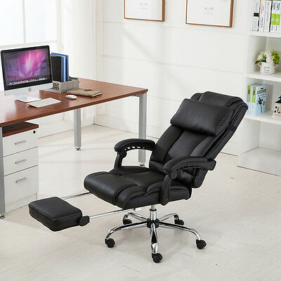 High Back Executive Office Chair Black Padded PU Leather Recliner w/ Footrest