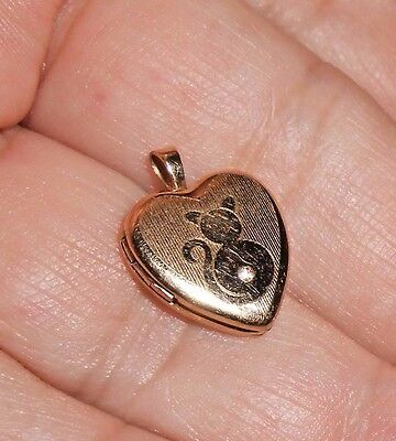 Purrrfect! Vintage Engraved Cat Heart Locket, Gold Plated Guilloche, CZ Stone