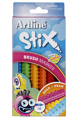Artline Stix Brush Markers 6 Assorted Colours