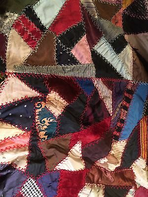 "Antique Handsewn Crazy Quilt Top, Lage, 93"" X 77"""