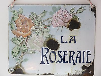 "Vintage ""La Roseraie"" French Garden Plaque Sign - hand painted - France Antique"
