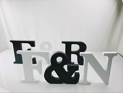 Large 23cm WOODEN LETTERS Small 15cm White Black Alphabet Wedding Home Birthday