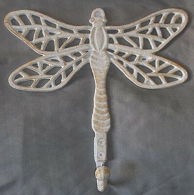 "LG Dragonfly Hook Vintage Style Heavy Cast Iron WHITE SAND Finish 8.5""H x 8.5""W"