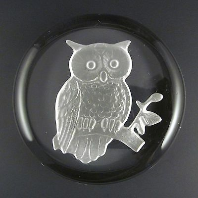 """Imperial Glass Owl Disc Paperweight Lenox Clear Lead Crystal Vintage 3.5"""" Flat"""