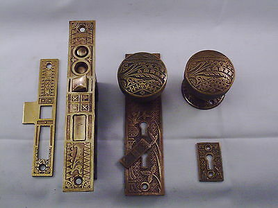 Antique Cast Bronze Door Knob Entrance Set DBL Key Dead bolt #555
