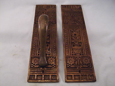 Antique Brass Bronze Handle Door Push/Pull  Potted Flower Store Front  #572