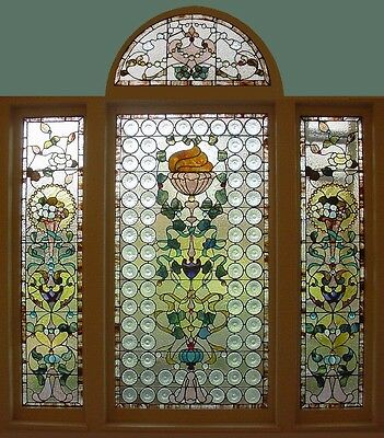 Antique American 4pc Suite of Stained Glass Windows from Povey Bro. of Portland