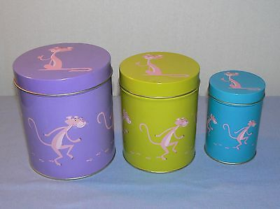 Pink Panther nesting tin set of 3 canisters metal cans green purple blue 2005