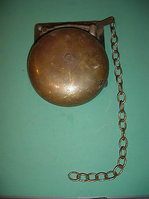 Vintage Antique Brass Wall Chain Bell Ding Ling Pull Ring Boxing Fire Door Train