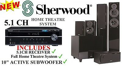 "Sherwood 5.1 Home theatre system w/ 10"" Active Subwoofer + RD6506 Amplifier -NEW"