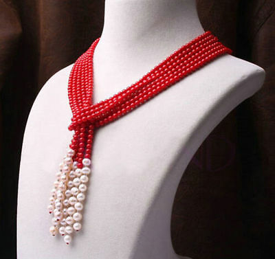HOT Genuine 4mm red coral + 7-8mm white pearl necklace