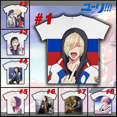 Anime Yuri On Ice Cosplay DIY T-shirt Casual White Short Sleeve Unisex Tee Top