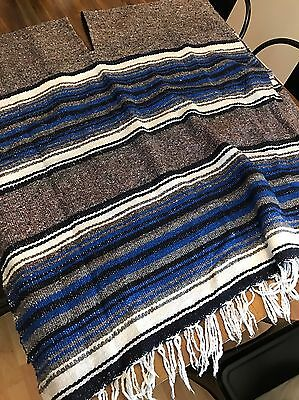 SERAPE, MEXICAN Large Length PONCHO Blanket Made In Mexico