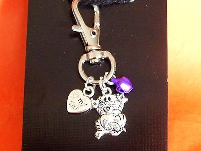 Cat Collar charm with Tabby cat , Double sided heart  and purple metalic bell
