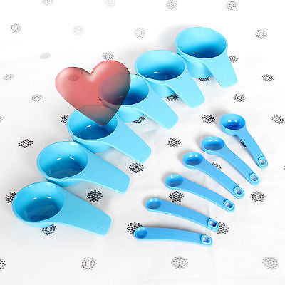 NEW Tupperware Blue Measuring Cups and Spoons Bake 2 Basics 12 Piece