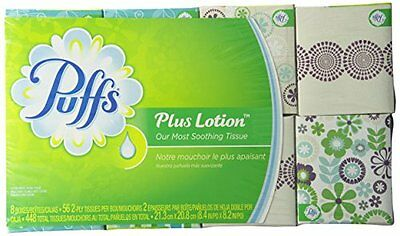 Puffs Plus Lotion Facial Tissues; 8 Cube Boxes 56 Tissues Per Box, 448 Count