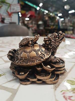 Large Turtle and Foo Dog Fortune Chinese Ornament Bonsai Decor Luck
