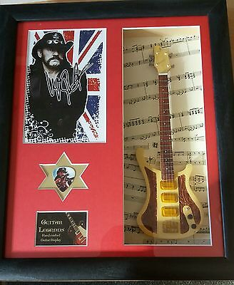 Lemmy Motorhead Framed Miniature Tribute Guitar with Plectrum