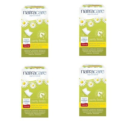 Organic Cotton Panty Liners NORMAL x 4 Packs Natracare Chlorine & Plastic Free