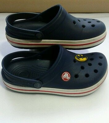 Crocs Size 12 C 13 navy with batman badge . Red and white sides used good con